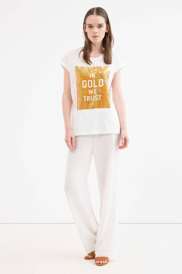 Solid colour cotton blend T-shirt, Golden Yellow, hi-res
