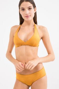 Solid colour stretch bikini bottoms, Brown, hi-res