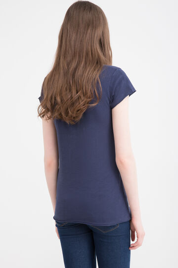 V-neck T-shirt in 100% cotton, Navy Blue, hi-res