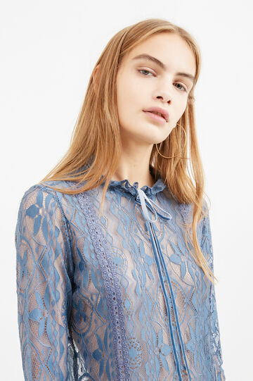 Stretch lace back-fastening blouse, Blue, hi-res