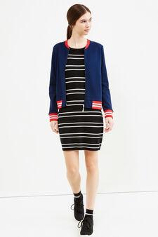 Striped viscose blend dress, Black/White, hi-res