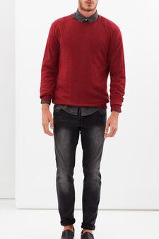 Maglione con scollo rotondo, Rosso ravanello, hi-res