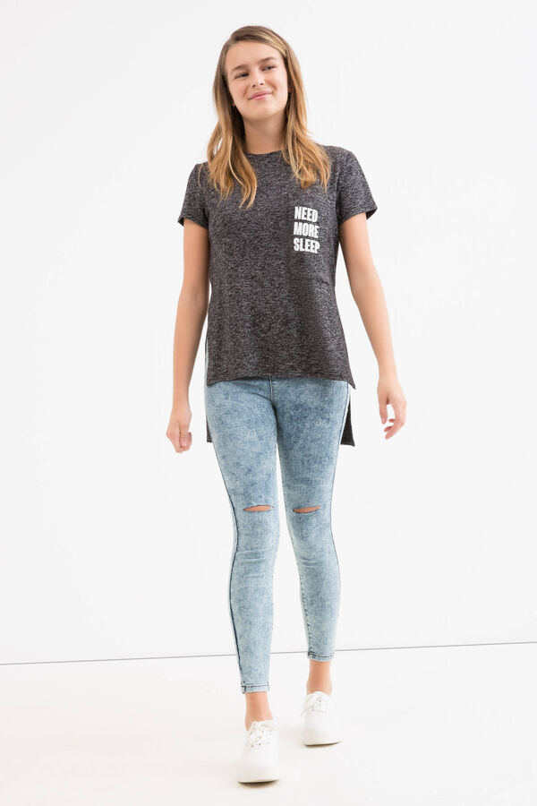 Stretch cotton Teen jeggings with rips | OVS