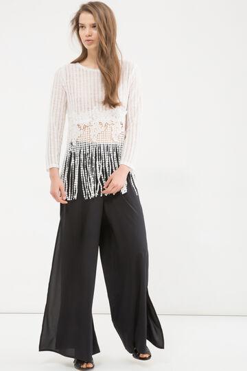 Pantaloni larghi con spacchi, Nero, hi-res