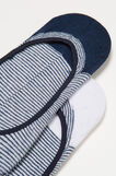 Two-pair pack cotton shoe liners, White/Blue, hi-res