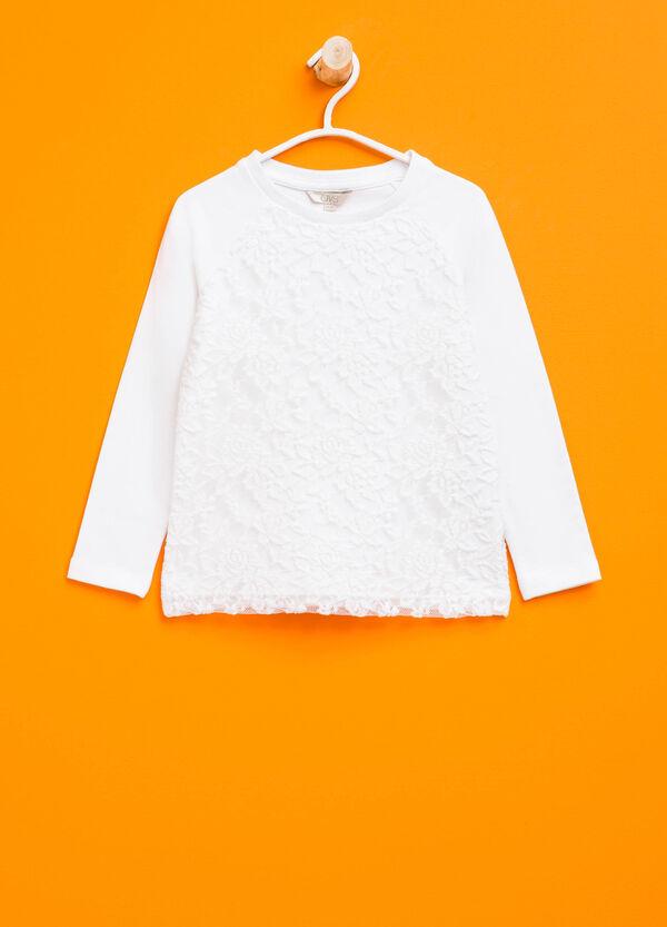 Sudadera en algodón elástico con encaje | OVS