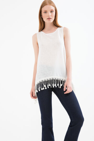 Viscose blend top with tassels, White, hi-res