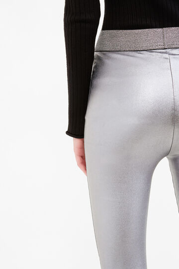 Shiny stretch leggings, Black, hi-res