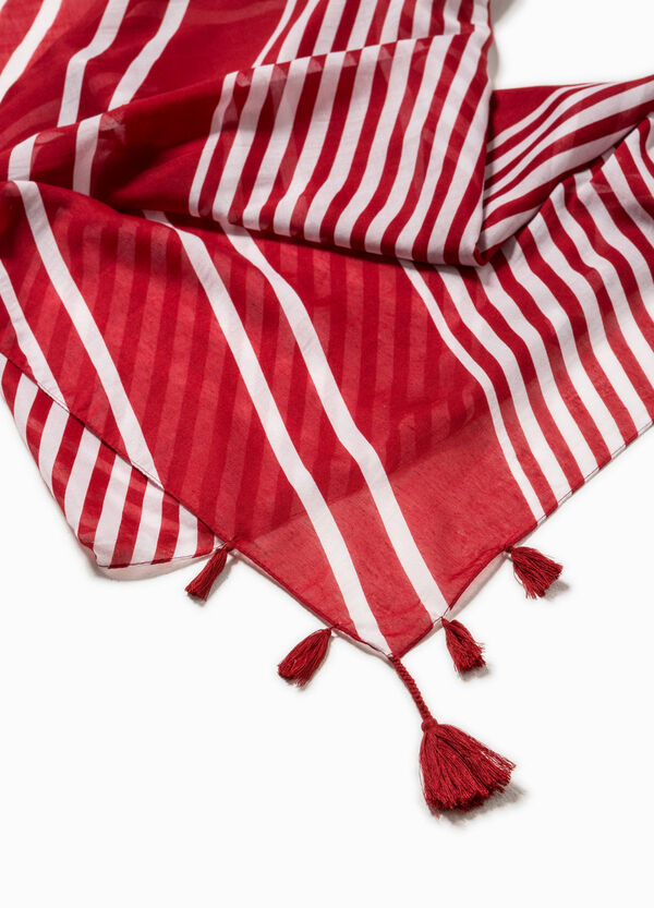 Striped scarf with tassels | OVS