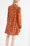 100% viscose dress with pleated skirt, Orange, hi-res