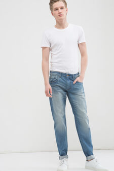 Jeans slim fit effetto used cinque tasche, Lavaggio medio, hi-res