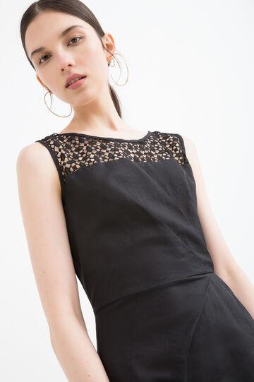 Sleeveless pleated dress., Black, hi-res