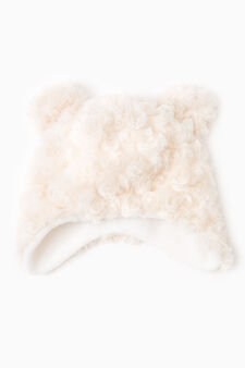 Fur hat with ears, Beige, hi-res