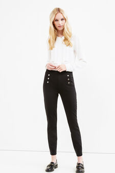 Stretch viscose leggings with buttons, Black, hi-res