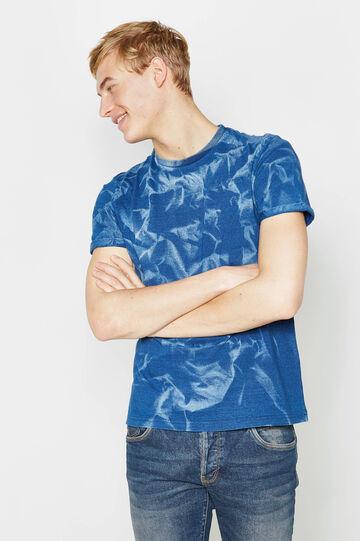 100% cotton misdyed-effect T-shirt, White/Blue, hi-res