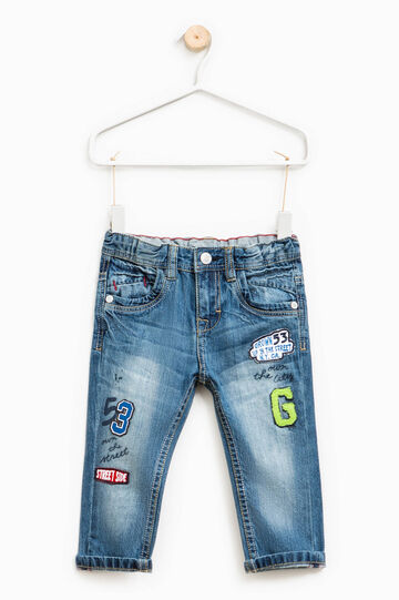 Worn-effect jeans with patches, Denim, hi-res