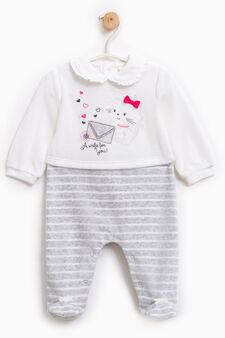 Sleep suit with flounces and bows, White/Grey, hi-res