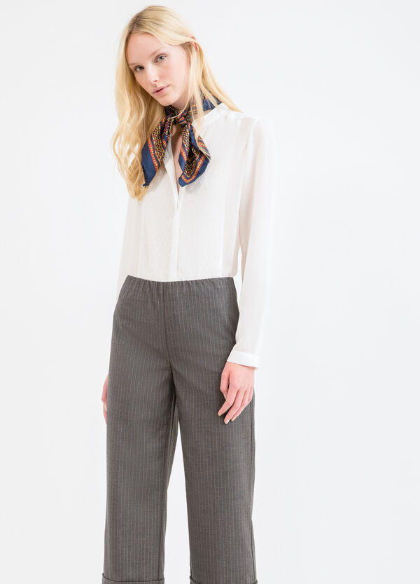 Stretch striped viscose trousers | OVS