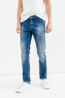 Slim-fit worn-effect stretch jeans with turn-ups, Medium Wash, hi-res