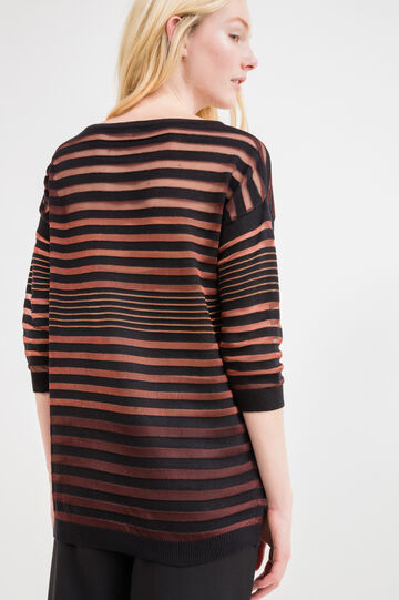 Pullover with striped openwork, Multicolour, hi-res
