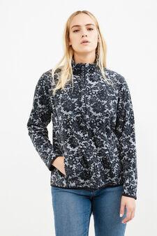 Curvy fleece gym hoodie with pattern, Black, hi-res