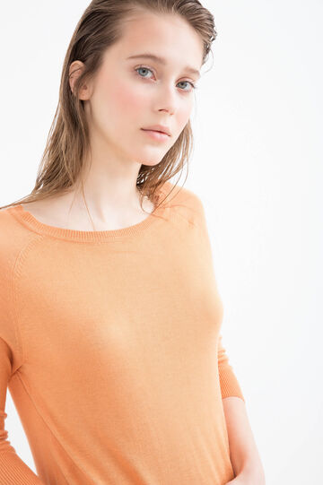 Viscose blend pullover with splits, Orange, hi-res
