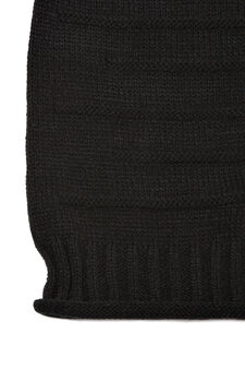 Striped-pattern beanie cap, Black, hi-res