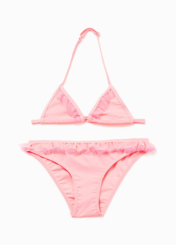 Stretch bikini with tulle flounce | OVS