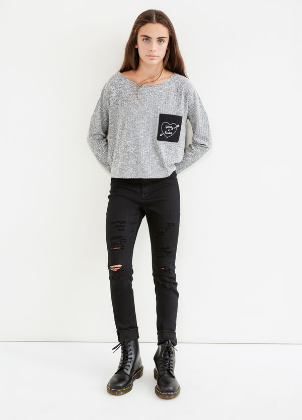 Teen pullover with embroidered pocket | OVS