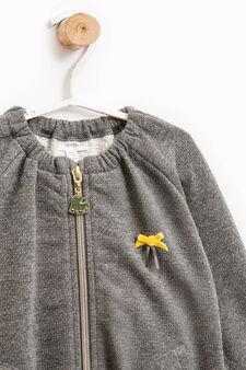 Patterned stretch cotton sweatshirt, Dark Grey, hi-res
