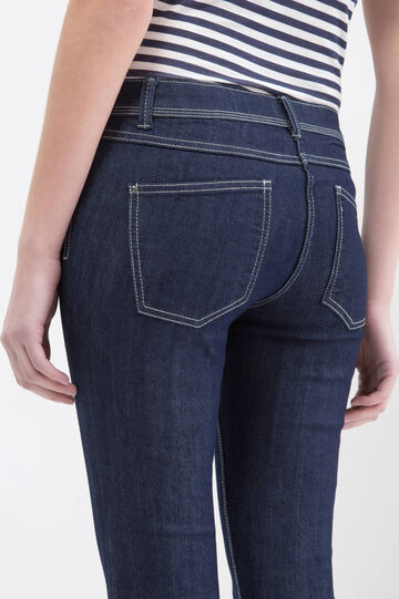 Slim fit jeans with stitching in contrasting colour, Blue, hi-res