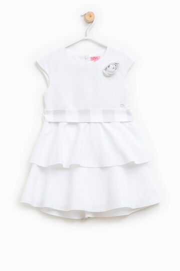 Linen blend dress with frills, White, hi-res