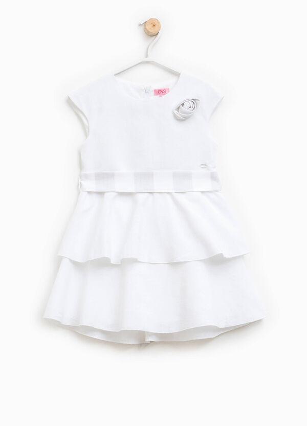 Linen blend dress with frills | OVS