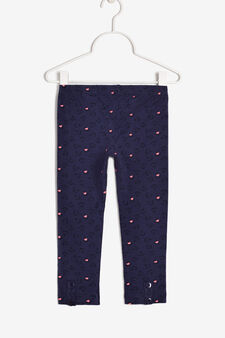 Leggings with buttons and a print, Royal Blue, hi-res