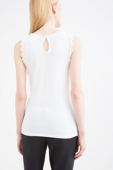 100% cotton top with lace inserts, White, hi-res