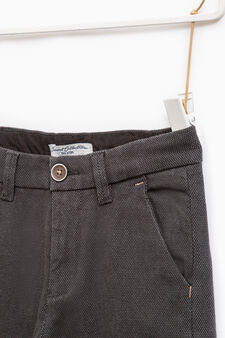 Solid colour stretch cotton trousers, Grey/Blue, hi-res