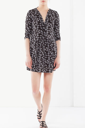 Flared dress in viscose, Black/White, hi-res