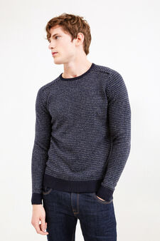 Cotton and viscose patterned pullover, Navy Blue, hi-res