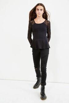 T-shirt maniche lunghe e pizzo Teen, Nero, hi-res
