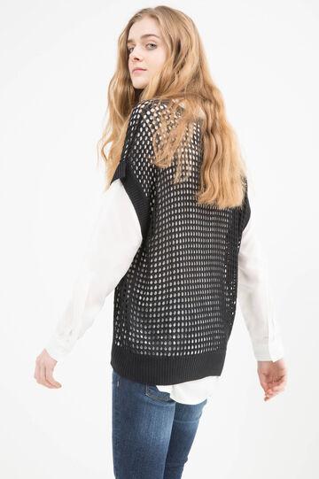 Solid colour 100% viscose pullover, Black, hi-res