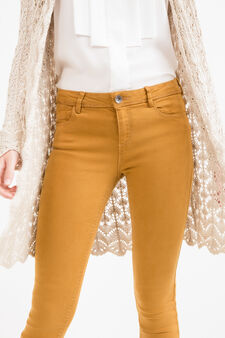 Solid colour stretch cotton trousers, Ochre Yellow, hi-res