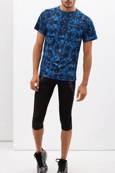 T-shirt with optical print, Cornflower Blue, hi-res