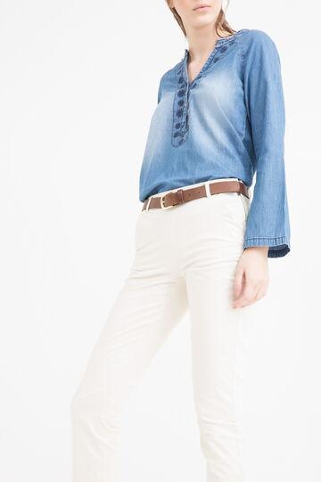 Pantaloni cotone stretch, Bianco gesso, hi-res