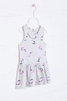 Stretch patterned dress, Grey Marl, hi-res