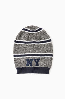 Knitted beanie cap with patches, Navy Blue, hi-res