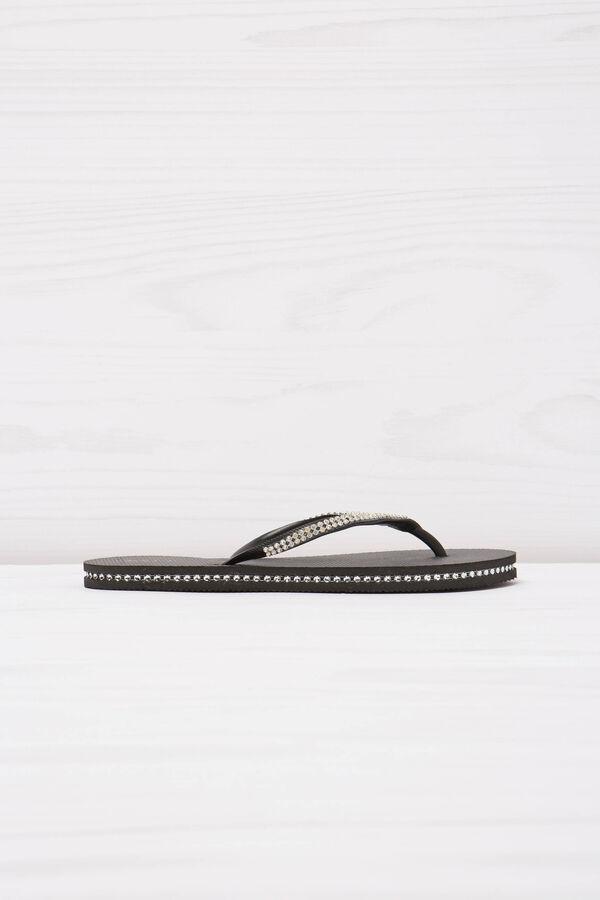 Solid colour thong sandal with diamanté detail | OVS