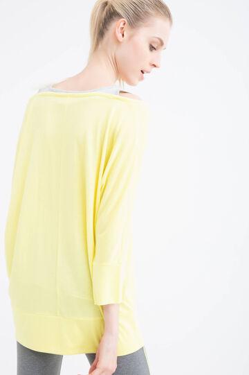 T-shirt sportiva misto viscosa, Giallo, hi-res