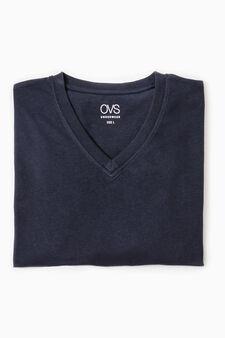 V-neck cotton undershirt, Navy Blue, hi-res