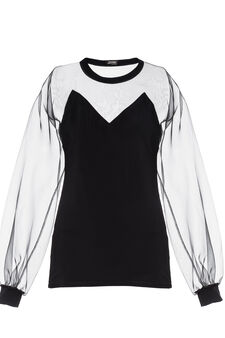 Blouse top, Jean Paul Gaultier for OVS, Black, hi-res
