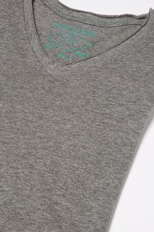 V-neck pyjamas in 100% cotton, Grey, hi-res